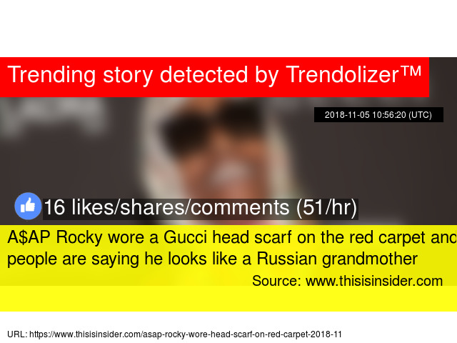 f6d75ce6be6f A$AP Rocky wore a Gucci head scarf on the red carpet and people are saying  he looks like a Russian grandmother