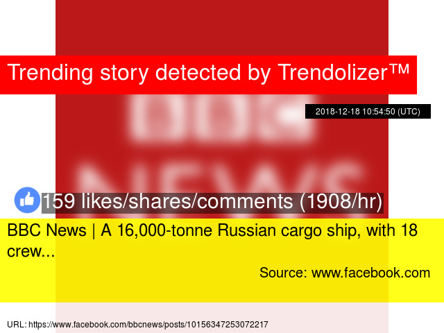 BBC News   A 16,000-tonne Russian cargo ship, with 18 crew